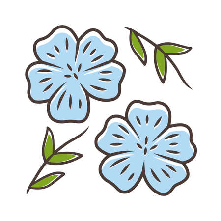 Blue flax plant color icon. Linen wild flower. Spring blossom. Blooming linum wildflower. Isolated vector illustration