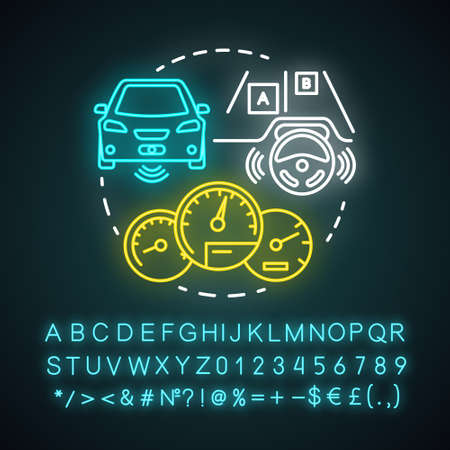 Adaptive cruise control neon light concept icon. Self-driving car. Autopilot vehicle idea. Glowing sign with alphabet, numbers and symbols. Vector isolated illustration Ilustrace