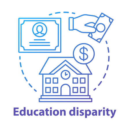 Education disparity concept icon. Educational inequality idea thin line illustration. School funding. Student loan, financial aid. Paid education. Vector isolated outline drawing