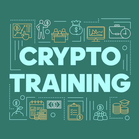 Crypto training word concepts banner. Cryptocurrency mining business courses. Digital currency trading. Presentation, website. Isolated typography idea with linear icons. Vector outline illustration Stock Illustratie