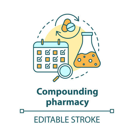 Compounding pharmacy concept icon. Personalized medications idea thin line illustration. Medication treatment schedule. Drugs mixing, compatibility. Vector isolated outline drawing. Editable stroke