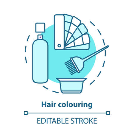 Hair colouring blue concept icon. Hair highlighting and dyeing, hairdo. Hairstyling idea thin line illustration. Hairdresser salon, hairstylist parlor. Vector isolated outline drawing. Editable stroke