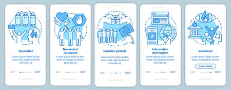 Political revolution onboarding mobile app page screen with linear concepts. Civil unrest and social protest walkthrough steps graphic instructions. UX, UI, GUI vector template with illustrations