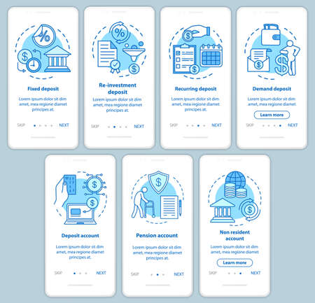Savings, deposit investment onboarding mobile app page screen with linear concepts. Different deposit types. Walkthrough steps graphic instructions set. UX, UI, GUI vector template with illustrations