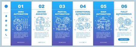 Driverless car stages onboarding mobile web pages vector template. Responsive smartphone website interface idea with linear illustrations. Webpage walkthrough step screens. Color concept