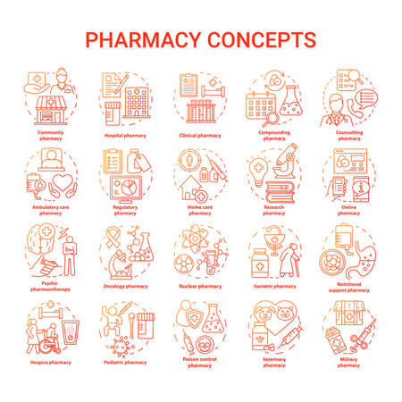 Pharmacy concept icons set. Regulatory, scheduled medication and prescription drugs idea thin line illustrations. Online medicine consultation. Vector isolated outline drawings