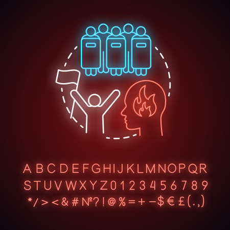 Revolution neon light concept icon. Civil unrest, conflict idea. Glowing sign with alphabet, numbers and symbols. Revolutionary with flag and riot police with shields vector isolated illustration
