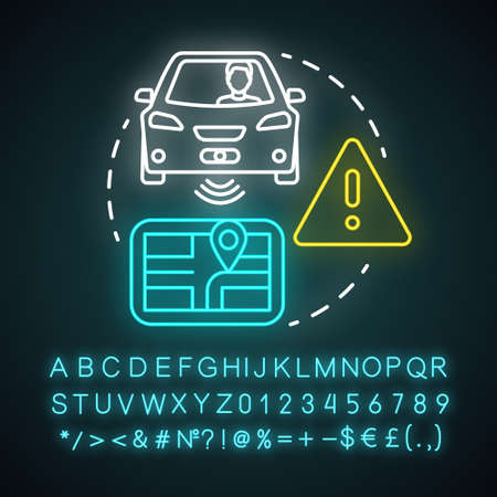 Driver assisted neon light concept icon. Car intelligent features. Sensory information to navigation paths idea. Glowing sign with alphabet, numbers and symbols. Vector isolated illustration Иллюстрация
