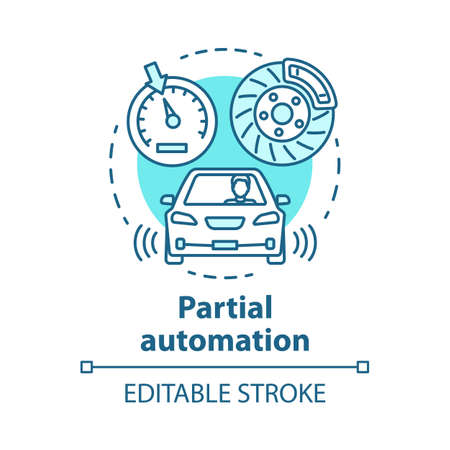 Partial automation concept icon. Vehicle with cruise control and parking sensors. Electronic car systems for driver idea thin line illustration. Vector isolated outline drawing. Editable stroke