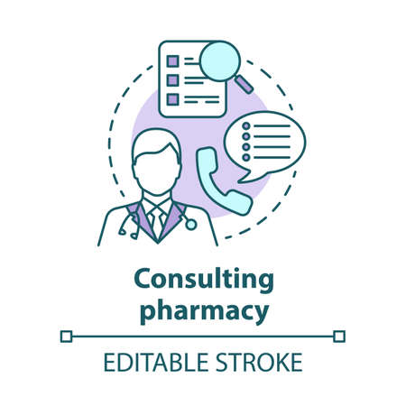 Consulting pharmacy concept icon. Doctor medical consultation idea thin line illustration. Professional pharmacist. Prescription, medicine advice. Vector isolated outline drawing. Editable stroke Иллюстрация