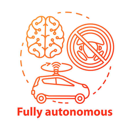 Fully autonomous concept icon. Car driven by artificial intelligence. Autopilot system. Robotic vehicle. Driverless car idea thin line illustration. Vector isolated outline drawing. Editable stroke