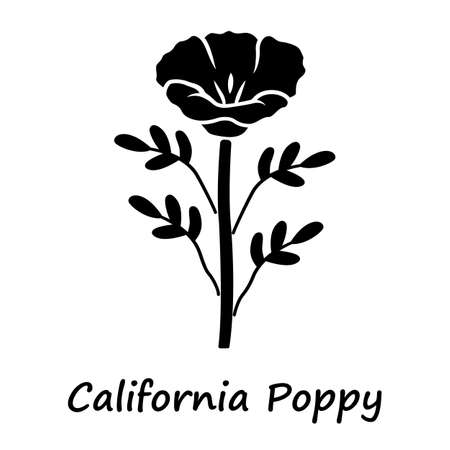 California poppy glyph icon. Papaver rhoeas with name inscription. Corn rose blooming wildflower. Herbaceous plants. Field common poppy. Silhouette symbol. Negative space. Vector isolated illustration Banque d'images - 129879908