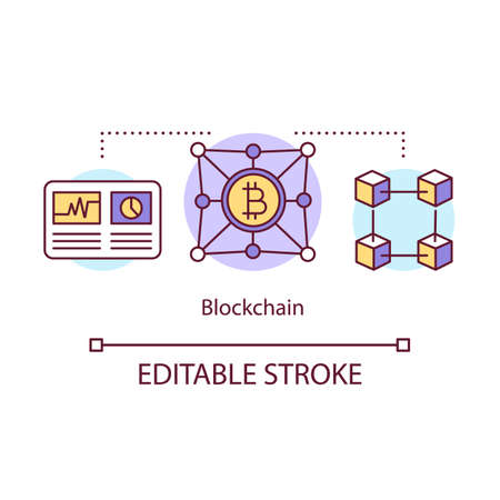 Blockchain concept icon. Transaction recording idea thin line illustration. Cryptocurrency business. Blockchain technology. Bitcoin trading. Vector isolated outline drawing. Editable stroke
