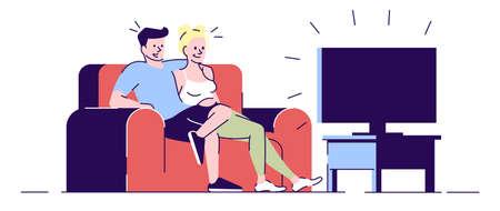 Serata perfetta relax illustrazione vettoriale piatto. Fidanzato che abbraccia la ragazza, guardando un film. La giovane coppia sposata che si siede sul divano ha isolato i personaggi dei cartoni animati con gli elementi del profilo su fondo bianco