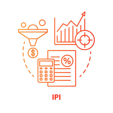 IPI red concept icon. Industrial production index idea thin line illustration. Economic manufacture indicator. Manufacturing output measurement. Vector isolated outline drawing. Editable stroke Ilustracja