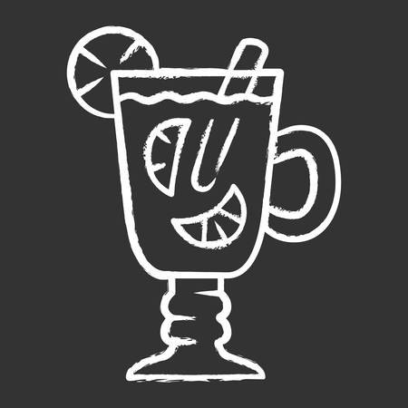 Hot toddy chalk icon. Hot whiskey in Irish coffee glass. Beverage with lemon slices and cinnamon stick in footed tumbler with handle. Warming drink. Isolated vector chalkboard illustration Иллюстрация