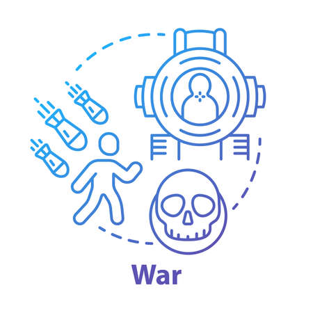 War concept icon. Military action idea thin line illustration. Warfare & terrorism. Armed forces. Offensive. Military operation, blockade, siege. Vector isolated outline drawing