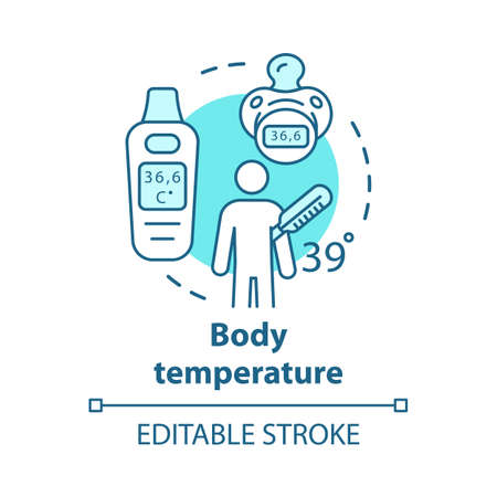 Icône de concept d'outils de mesure de la température corporelle. Patient avec fièvre idée fine ligne illustration. Thermomètre électronique pour enfants avec affichage. Dessin de contour isolé de vecteur. Trait modifiable
