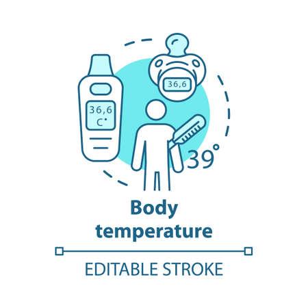 Icona di concetto di strumenti hi-tech di misurazione della temperatura corporea. Paziente con illustrazione al tratto sottile idea febbre. Termometro elettronico per bambini con display. Disegno di assieme isolato vettoriale. Tratto modificabile