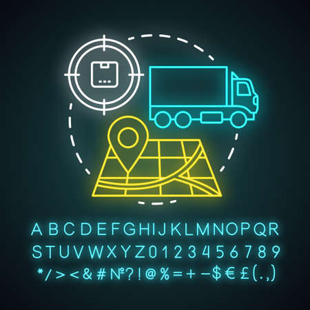Transportation coordination neon light concept icon. Logistics and distribution idea. Cargo, freight shipment. Parcel delivery industry. Glowing alphabet, numbers. Vector isolated illustration
