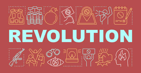 Revolution word concepts banner. Political uprising, social rebellion presentation, website. Isolated lettering typography idea with linear icons. Aggressive resistance vector outline illustration