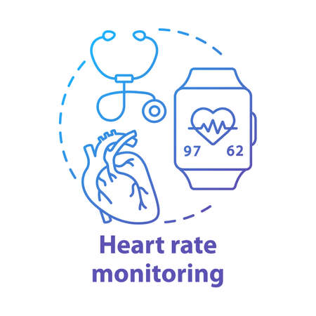Heart rate monitoring tools concept icon. Cardiological health control idea thin line illustration. Stethoscope, smartwatch with pulse check option. Vector isolated outline drawing. Editable stroke Stock Illustratie