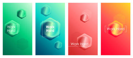 Work hard social media stories duotone template set. Gradient web banner with fluid 3d shapes, content layout and inspirational phrase. Modern mobile app organic design. Blending colors mockup pack