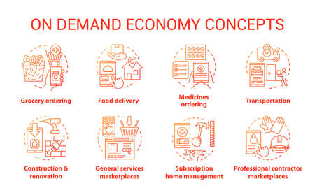 Supply and demand concept icons set. Commercial services industry, consumerism idea thin line illustrations. E commerce, modern business. Online marketplace app vector isolated outline drawings