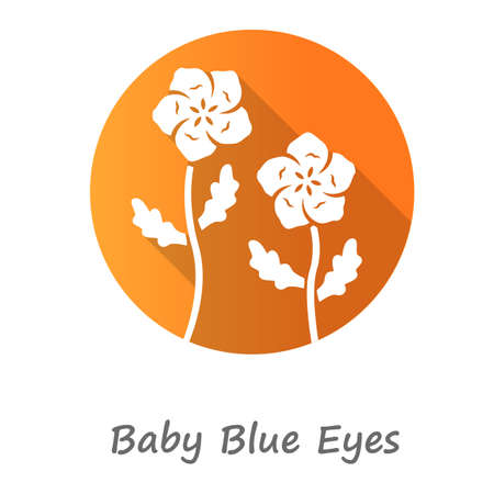 Baby blue eyes orange flat design long shadow glyph icon. Linen blooming flower with name inscription. Nemophila menziesii garden plant. Blue flax. Wildflower blossom. Vector silhouette illustration Illustration
