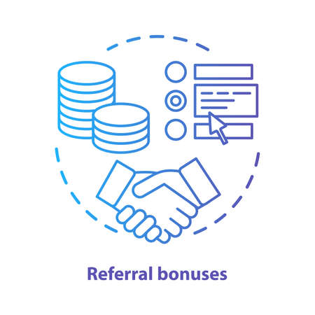 Casino referral bonuses concept icon. Reward program idea thin line illustration. Referral awards, incentives and benefits. Redeem points.  Vector isolated outline drawing Illusztráció