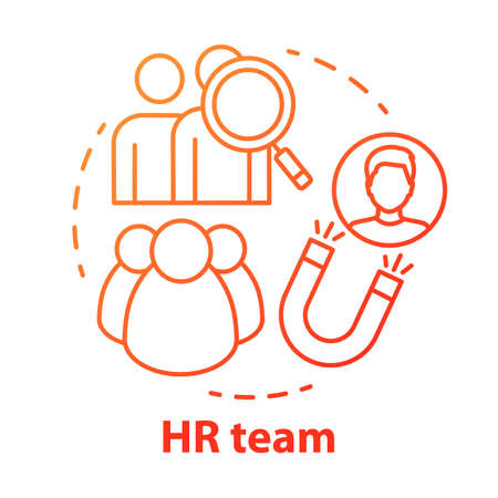 HR team concept icon. Employment service, recruitment idea thin line illustration. Staff search and human resources management. Candidate sourcing. Vector isolated outline drawing Ilustracja