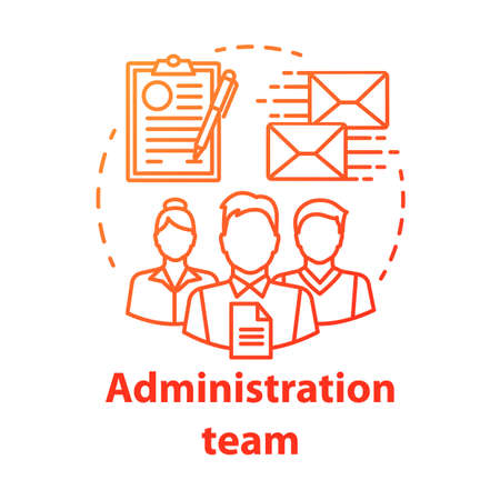 Administration team concept icon. Organization department idea thin line illustration. Office managers team. Company staff. Corporate management personnel. Vector isolated drawing Stock Illustratie