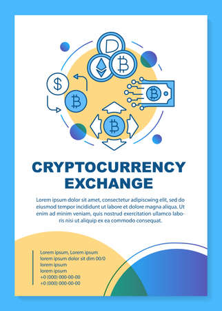 Cryptocurrency exchange service poster template layout. Crypto mining. Virtual money transaction. Banner, booklet, leaflet print design with icons. Vector brochure page layouts for magazines, flyers