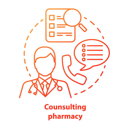 Consulting pharmacy concept icon. Doctor medical consultation idea thin line illustration. Professional pharmacist. Prescription, medicine advice. Vector isolated outline drawing Иллюстрация