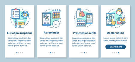 Prescription list and online pharmacy onboarding mobile app page screen with linear concepts. Rx refills. Four walkthrough steps graphic instructions. UX, UI, GUI vector template with illustrations Illustration