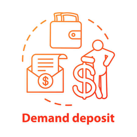 Savings concept icon. Demand deposit idea thin line illustration. Available funds, finances. Regular, everyday bank account for withdrawal. Vector isolated outline drawing