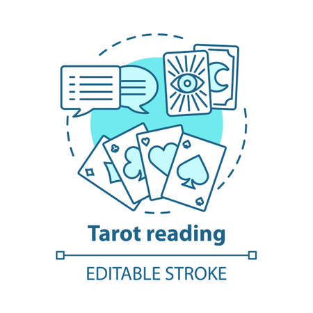 Tarot reading concept icon. Fortune telling, divination, future prediction idea thin line illustration. Speech bubbles, playing and clairvoyant cards vector isolated outline drawing. Editable stroke