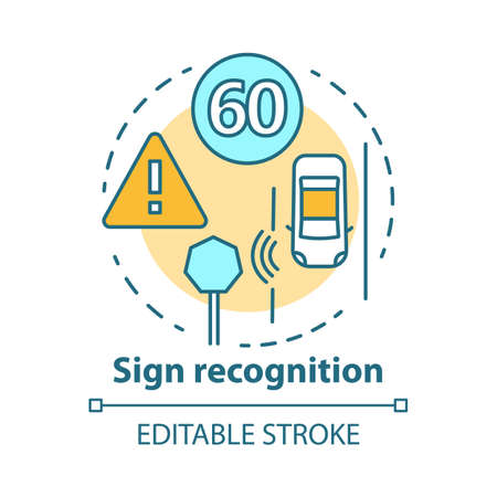 Sign recognition concept icon. Traffic signs detection. Smart car on road. Sensor technologies for safe driving idea thin line illustration. Vector isolated outline drawing. Editable stroke