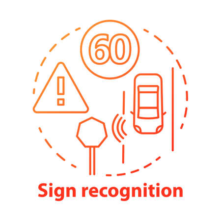 Sign recognition concept icon. Traffic signs detection. Smart car on road. Sensor technologies for safe driving idea thin line illustration. Vector isolated outline drawing. Editable stroke Stok Fotoğraf - 129881037