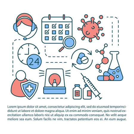 Poison control article page vector template. Toxin antidote research. Brochure, magazine, booklet design element with linear icons and text boxes. Print design. Concept illustrations with text space