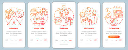 Nonviolent protest onboarding mobile app page screen vector template. Peaceful public demonstration walkthrough website steps with linear illustrations. UX, UI, GUI smartphone interface concept