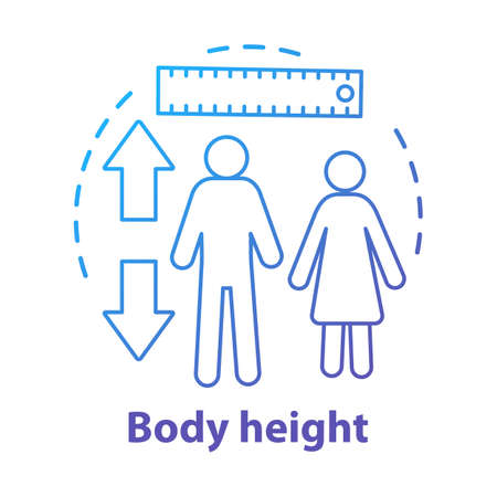 Body height measuring ruler, meter concept icon. Checking male, female body growth parameters idea thin line illustration. Controlling human size. Vector isolated outline drawing. Editable stroke Çizim