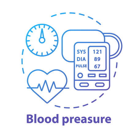 Blood pressure control device concept icon. Heart monitoring idea thin line illustration. Systolic and diastolic pressure on manometer screen. Vector isolated outline drawing. Editable stroke