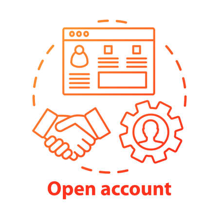 Open bank account concept icon. Savings idea thin line illustration. Striking deal, signing agreement with banking company. Starting partnership. Vector isolated outline drawing