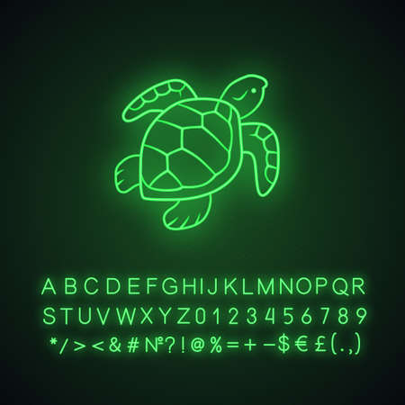 Turtle neon light icon. Slow moving reptile with scaly shell. Underwater animal. Oceanography and zoology. Marine fauna. Glowing sign with alphabet, numbers and symbols. Vector isolated illustration