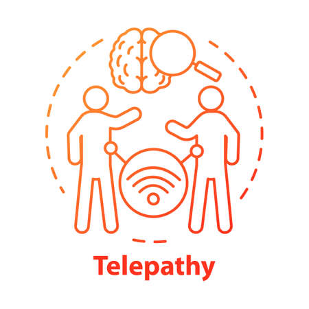 Telepathy concept icon. Mind reading, thought transference idea thin line illustration. Supernatural psychic powers. Brain with magnifying glass and people vector isolated outline drawing Stock Illustratie