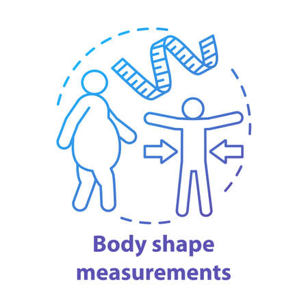 Body shape measuring practice concept icon. Obese versus fit person idea thin line illustration. Measuring tape. Controlling body mass, staying slim. Vector isolated outline drawing. Editable stroke Stock Illustratie