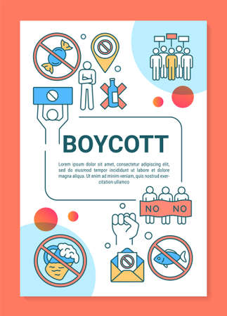 Boycott poster template layout. Voluntary food abstention banner, booklet, leaflet print design with linear icons. Hunger strike vector brochure page layouts for magazines, advertising flyers
