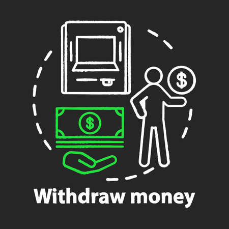Withdraw money chalk concept icon. Savings  idea. Using ATM, getting cash from bank. Getting interest from deposit, bank account. Financial services. Vector isolated chalkboard illustration Illusztráció