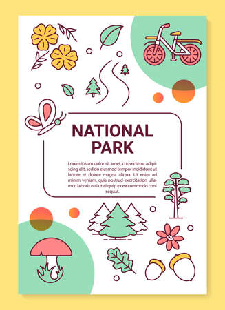 National park poster template layout. Autumn activity. Forest foliage. Banner, booklet, leaflet print design with linear icons. Vector brochure page layouts for magazines, advertising flyers 일러스트